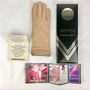 Vintage Aris Cashmere Lined Isotoner Gloves in box